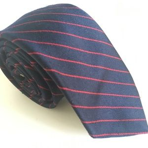 Dark Blue and Red Striped Skinny Tie